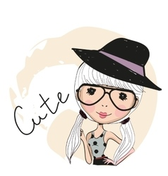Cute girl with glasses vector