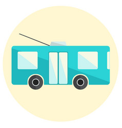 Cute little flat trolley bus icon vector