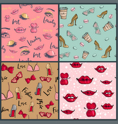 fashion cosmetics accessories seamless pattern vector image