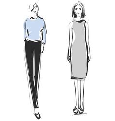 fashion models sketch dress vector image