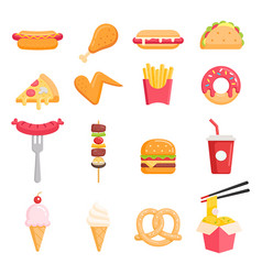 fast food color icons vector image
