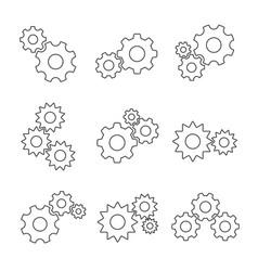 gear outline flat set vector image