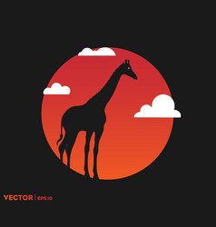 giraffe shadow on sun vector image