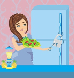 Girl on a diet - Refrigerator with chain and lock vector