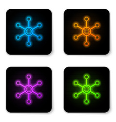 glowing neon network icon isolated on white vector image