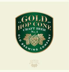 gold hop cone logo beer pub emblem vector image