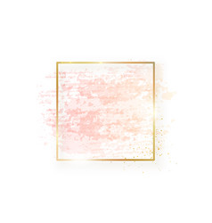 Gold square frame with pastel nude pink texture vector