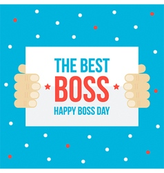 Happy boss day card flat design vector image