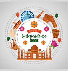 happy independence day india flat design vector image