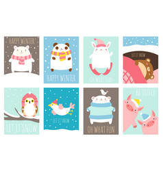 happy winter set of template card vector image