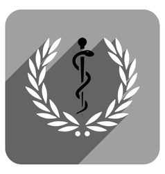 Healh Care Laurel Wreath Flat Square Icon with vector