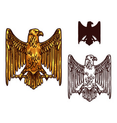 Heraldic golden gothic eagle vector