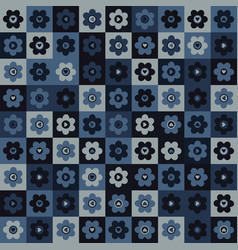 Indigo blue heart mosaic seamless pattern vector