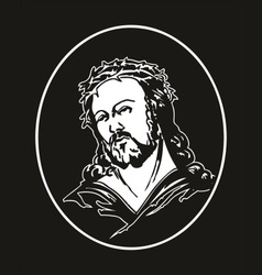 jesus with crown of thorns vector image