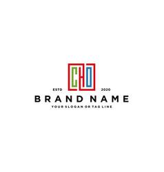 Letter cho square colorful logo design vector