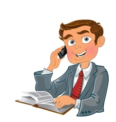 Men with phone and book vector image