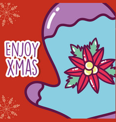 merry christmas celebration mitten with flower vector image