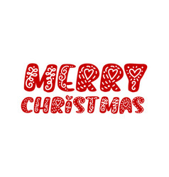 merry christmas hand drawn lettering text vector image