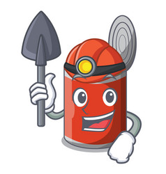 Miner canned food on the table cartoon vector