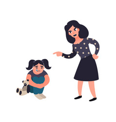 mother punishing her little sad crying daughter vector image