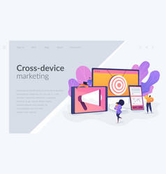 Multi device targeting landing page template vector