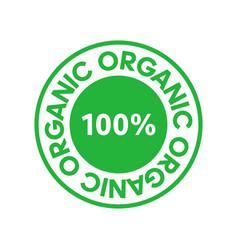 Organic 100 percent green circle sticker design vector