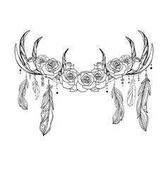 Outline native drawing deer antlers vector