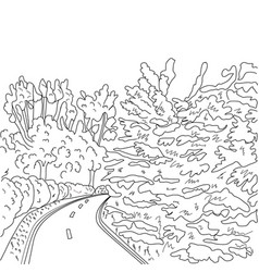 Park road and trees graphic black and white vector
