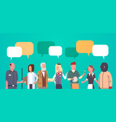 people group with chat bubble different occupation vector image