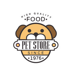 Pet store since 1976 logo template design brown vector