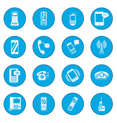 Phone icon blue vector