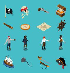 Pirates isometric icons vector