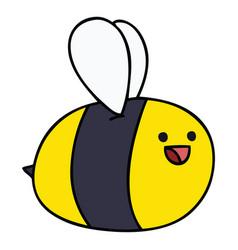 Quirky hand drawn cartoon bumblebee vector