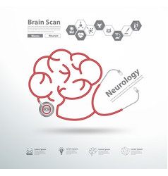 Red stethoscope in shape of brain scan vector