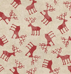 Retro Christmas seamless pattern with funny deers vector