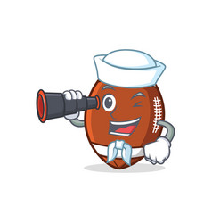 Sailor with binocular american football character vector