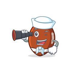 sailor with binocular american football character vector image