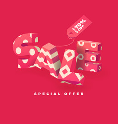 sale 3d sign pink vector image