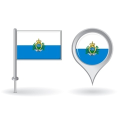 San Marino pin icon and map pointer flag vector image