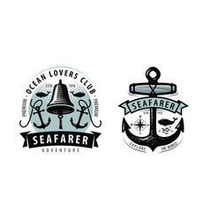 seafarer shipping cruise logo or label nautical vector image
