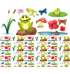 Seamless background design with happy frogs in vector