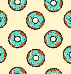 Seamless background with cartoon donut food vector