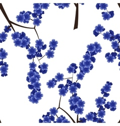 Seamless pattern with blue cherry flowers vector image vector image