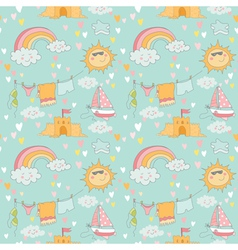 Seaside and Summer Background - Seamless Pattern vector image