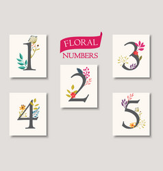 set beautiful flowers and numbers for wedding vector image