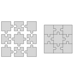 set elements of puzzle jigsaw puzzle blank vector image