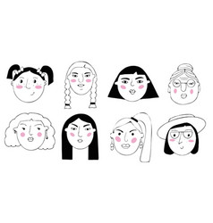Set portraits people cartoon funny vector