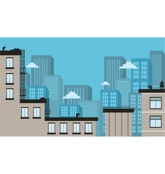 Silhouette of city landscape flat vector