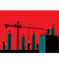 silhouette of construction site vector image