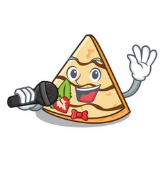 Singing crepe mascot cartoon style vector